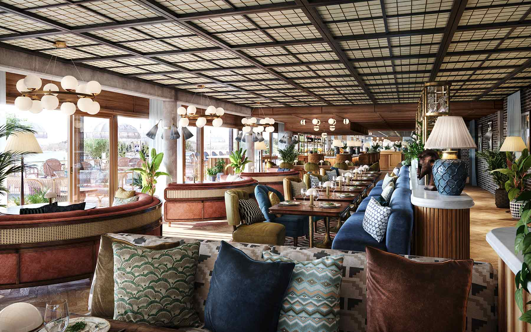 Ellery Beach House Stockholm. 3D rendering av lounge miljö med utsikt över strand och hav.