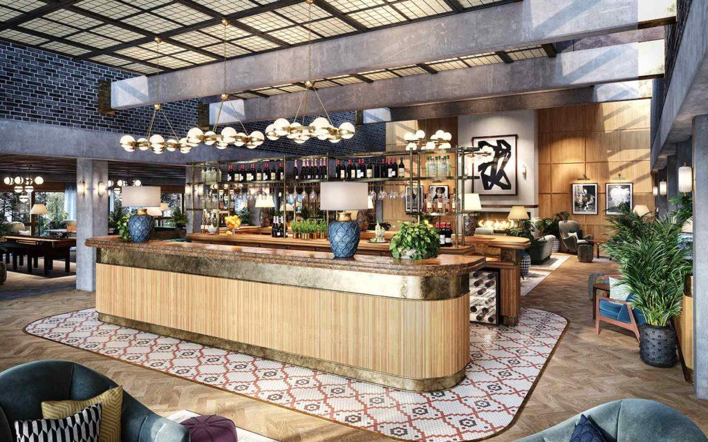 Ellery Beach House i Stockholm (Lidingö) 3D-rendering av bar och reception.