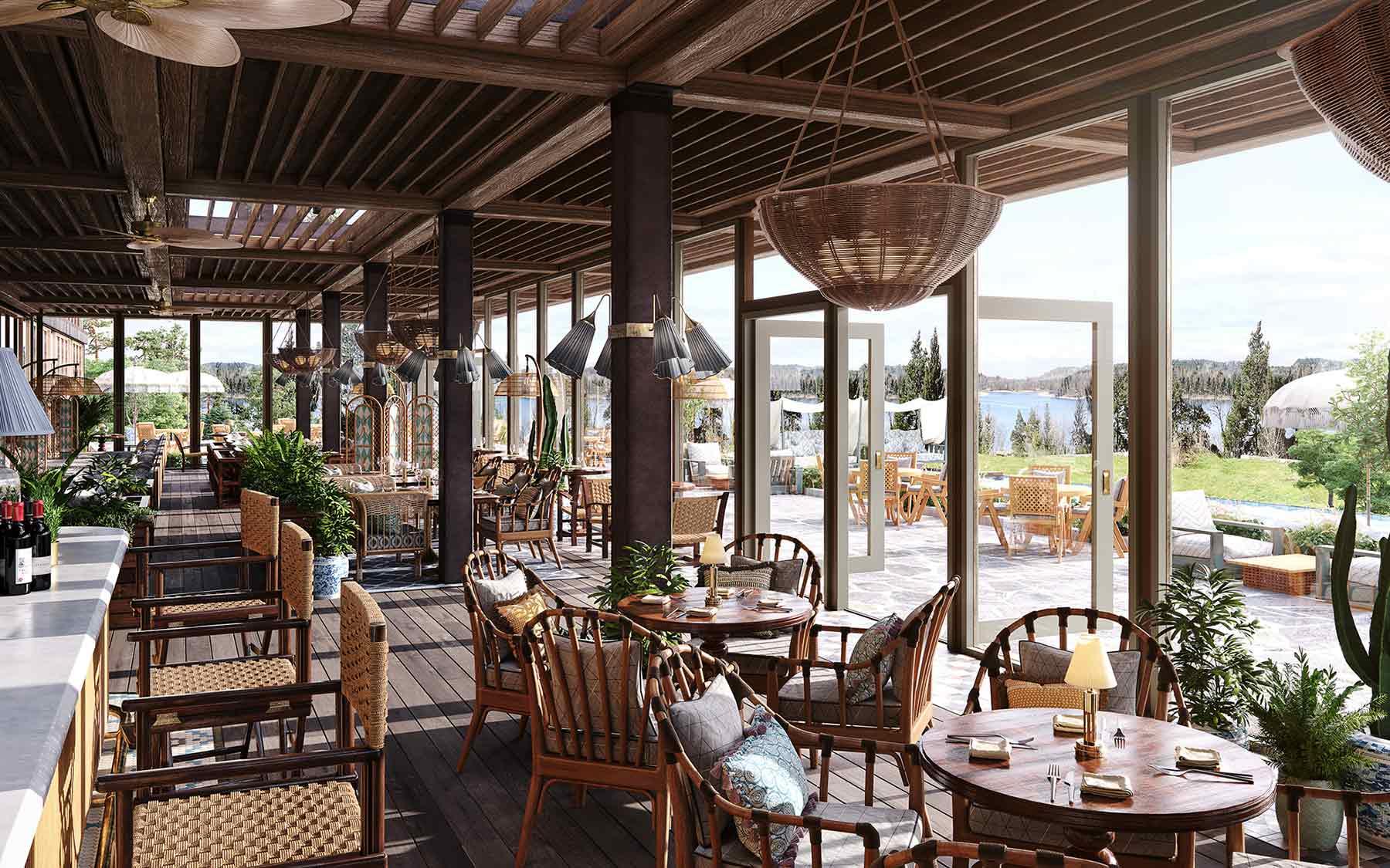 Ellery Beach House - Stockholm (Lidingö) 3D-rendering av bar och uteservering